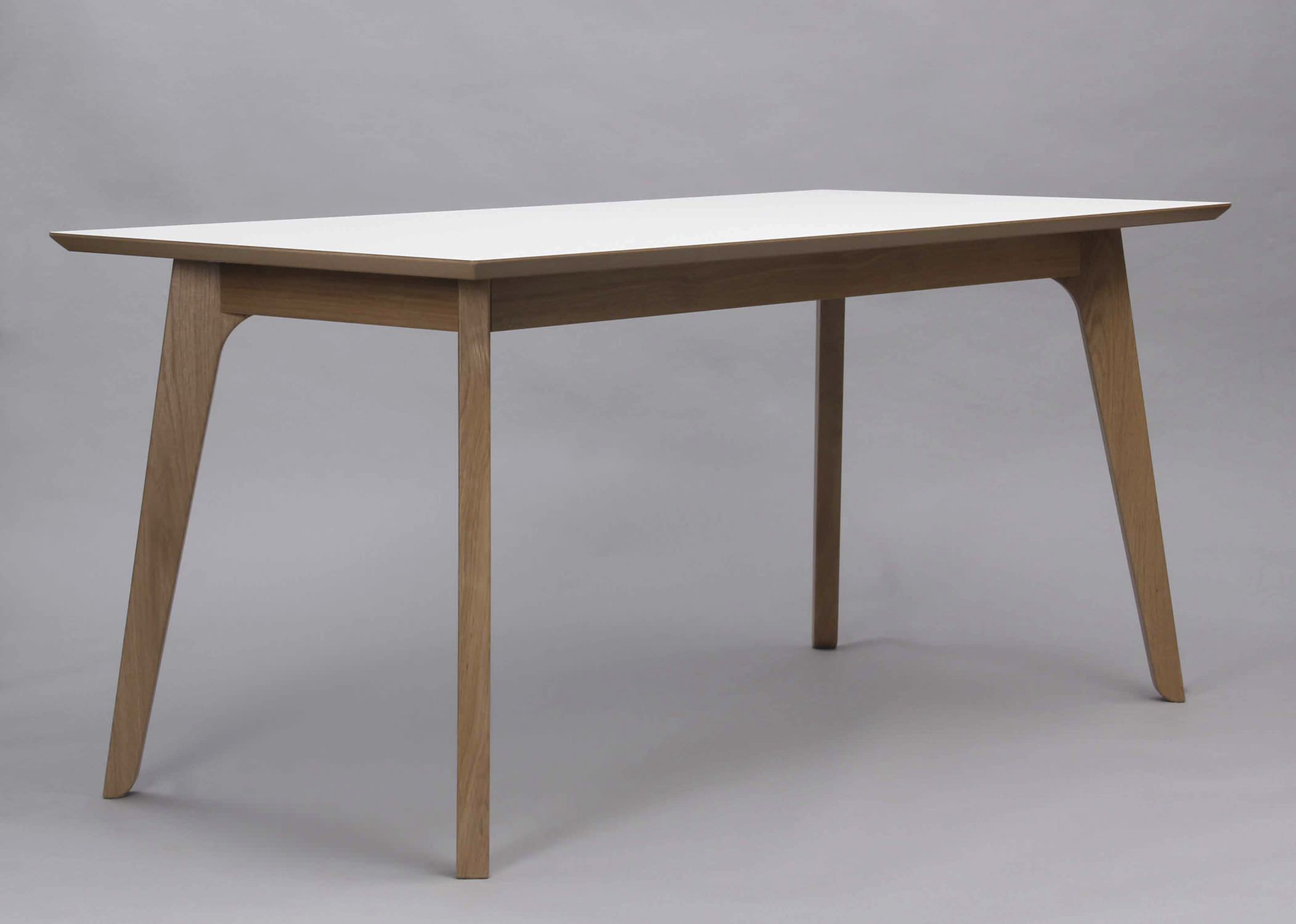 Contemporary Dining Table Oak Solid Wood Rectangular