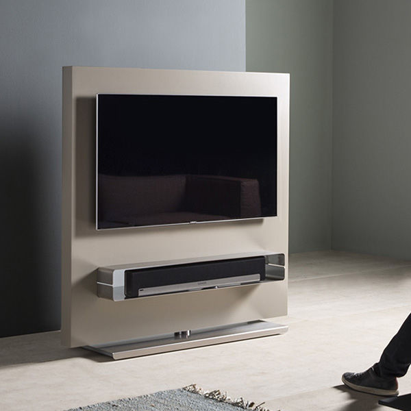 Porta Tv Totem.Contemporary Tv Cabinet Swivel Lacquered Mdf Stainless