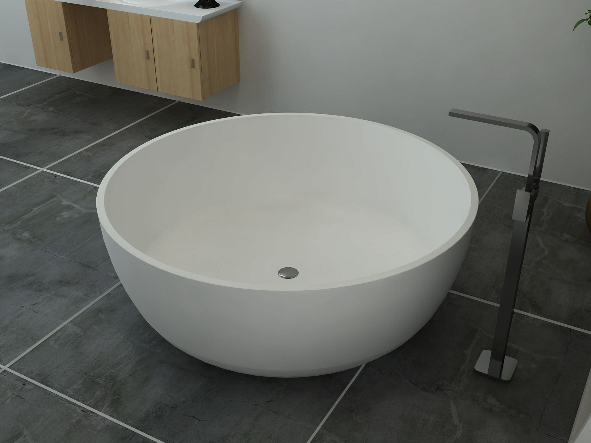 Free Standing Bathtub Round Solid Surface Bs S25