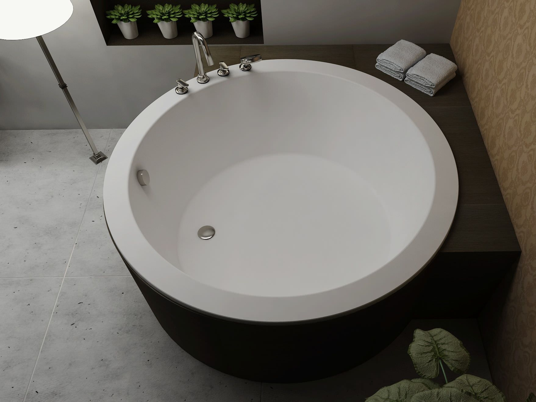 Freestanding Bathtub Round Solid Surface Bs S35