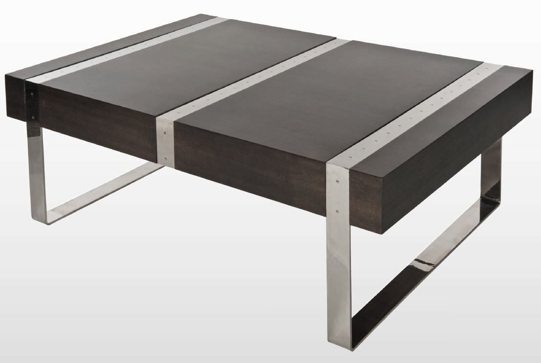 Contemporary Coffee Table Wooden Metal Morton Small Gl