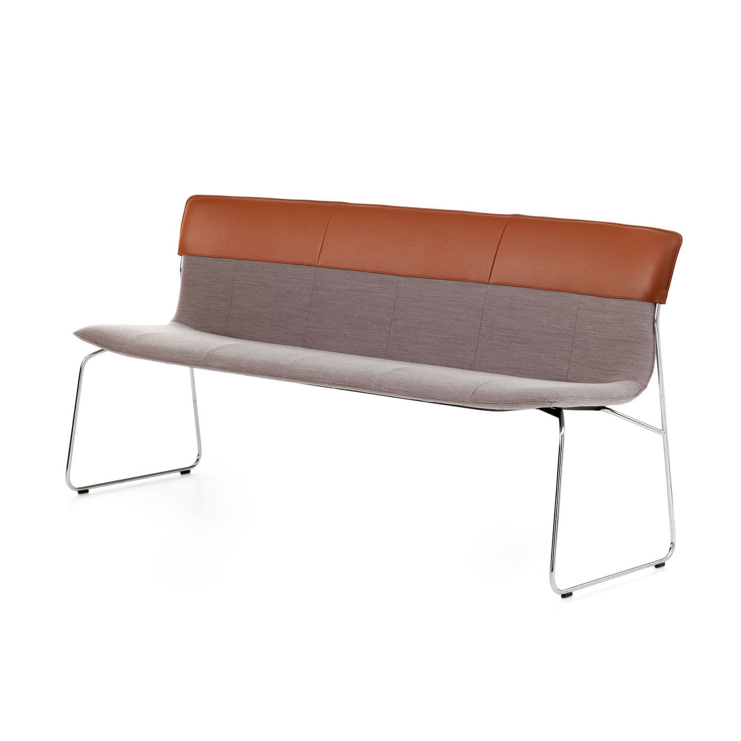 Contemporary Upholstered Bench Fabric Leather Chrome Lx681