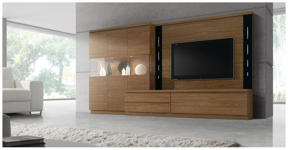 Contemporary Tv Wall Unit Wooden Roma 3951