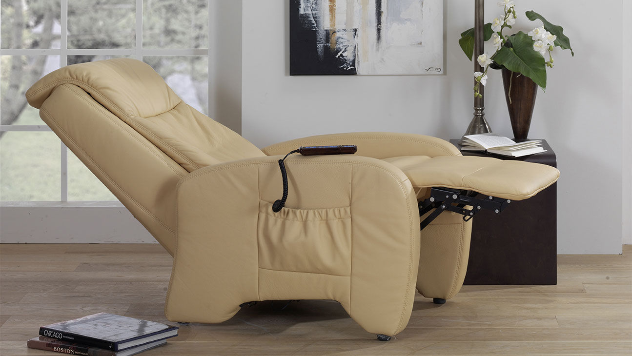Leather Massage Armchair With Footrest With Headrest