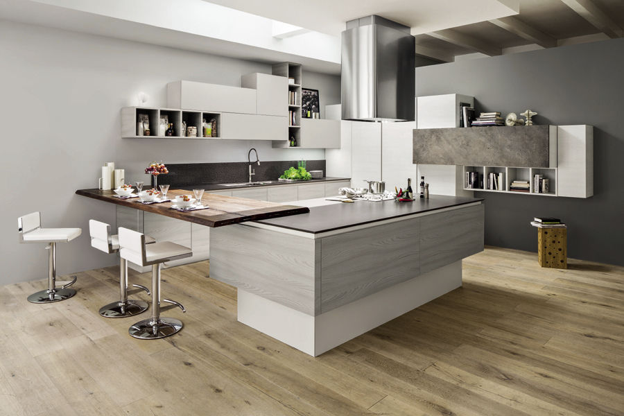Cucine Arrex Moderne.Contemporary Kitchen Wooden Island Handleless Mango