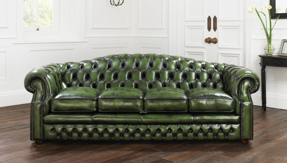 Chesterfield sofa / leather / 3-seater / green - BUCKINGHAM ...