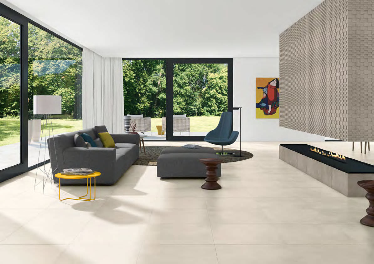 Indoor Tile Living Room Floor Porcelain Stoneware Everlane White