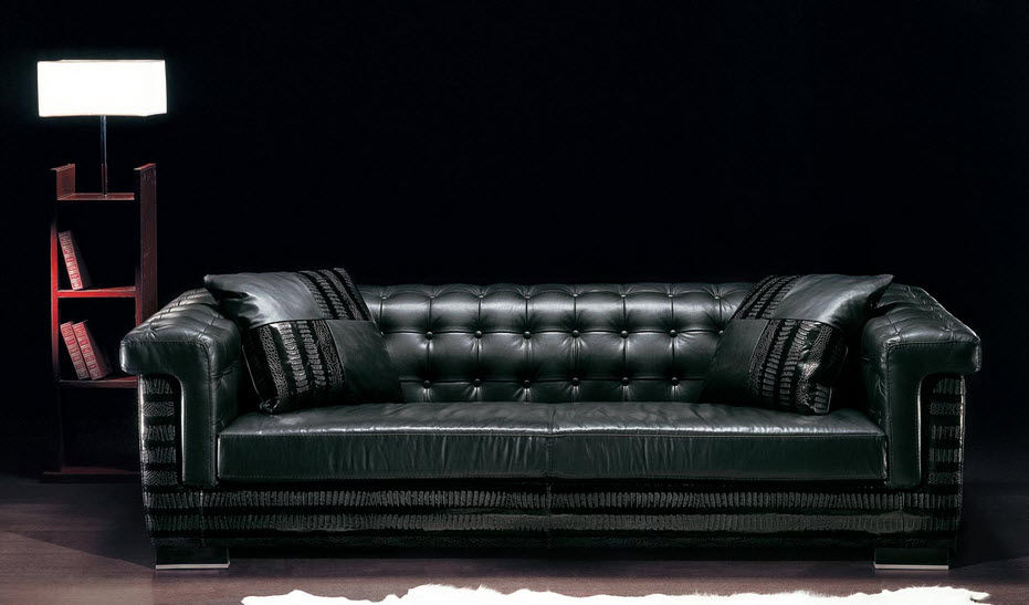 Chesterfield sofa / leather / 3-seater / black - ASCOT ...