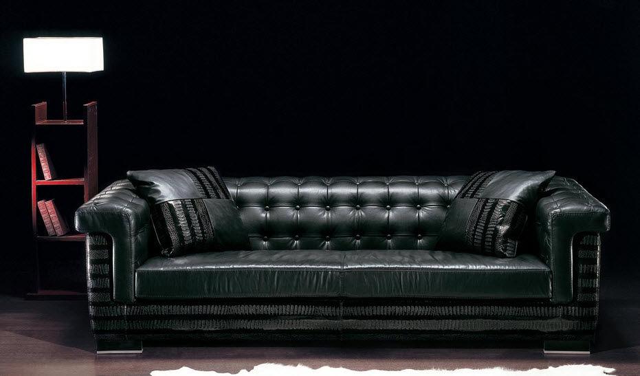 Chesterfield sofa / leather / 3-seater / black - ASCOT - Poles Salotti