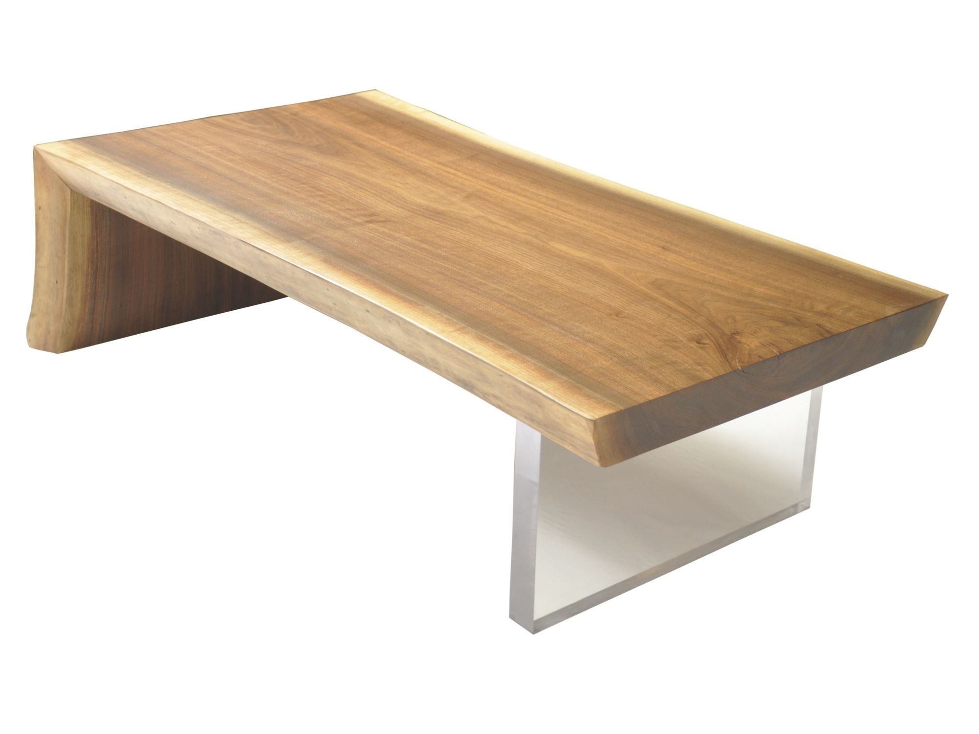 Contemporary Coffee Table Raw Edge Walnut Slab Rotsen Furniture Wooden Rectangular In Reclaimed Material
