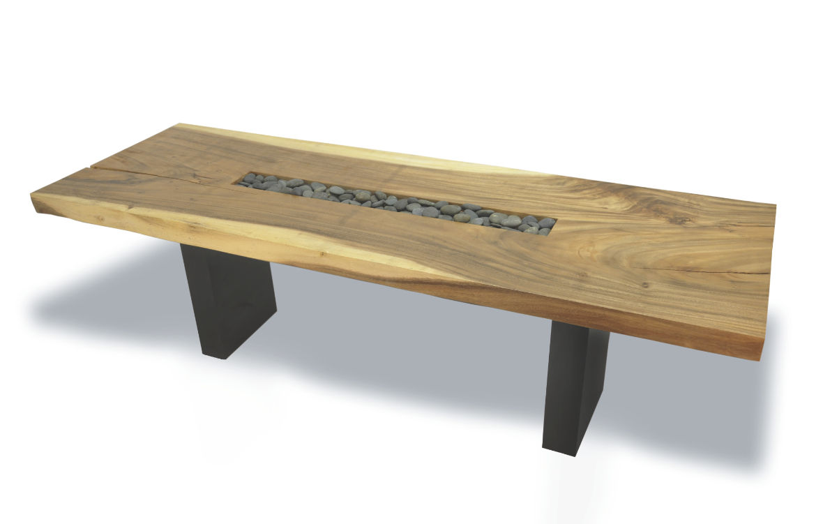 Contemporary Table Wooden Rectangular In Reclaimed Material Slab Inset Rock