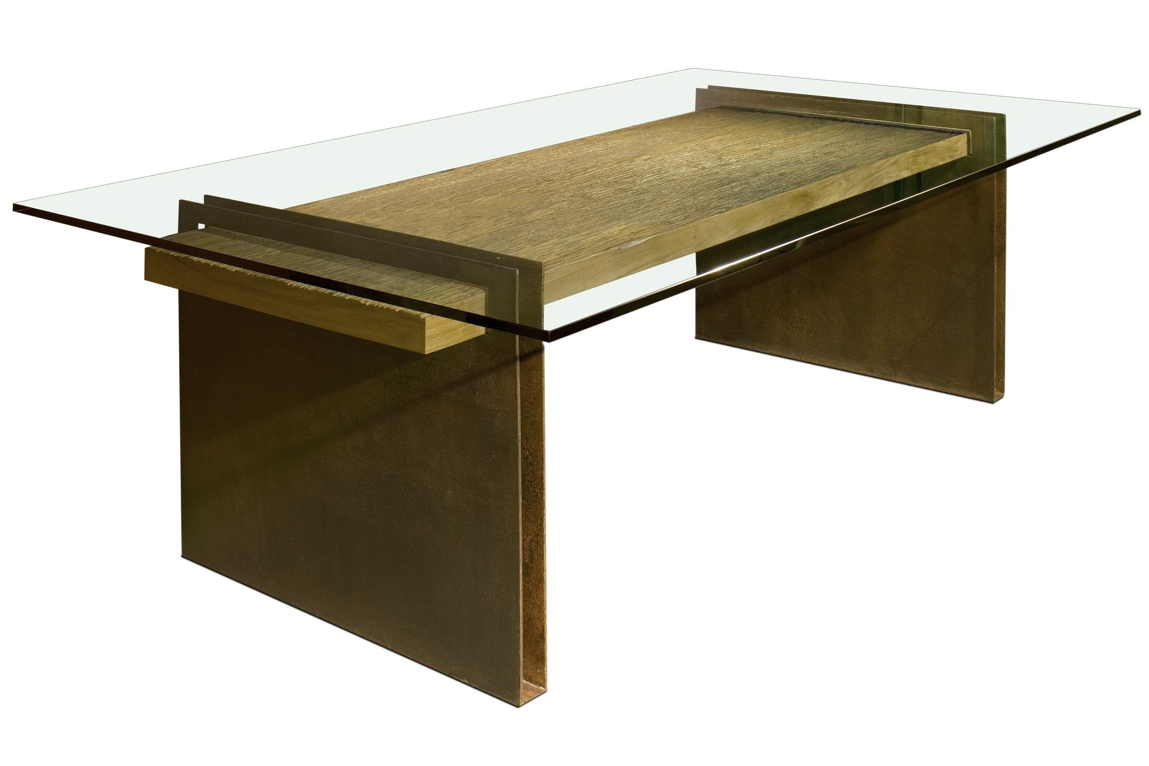 Contemporary Table Wooden Rectangular In Reclaimed Material Chapa Metal Base