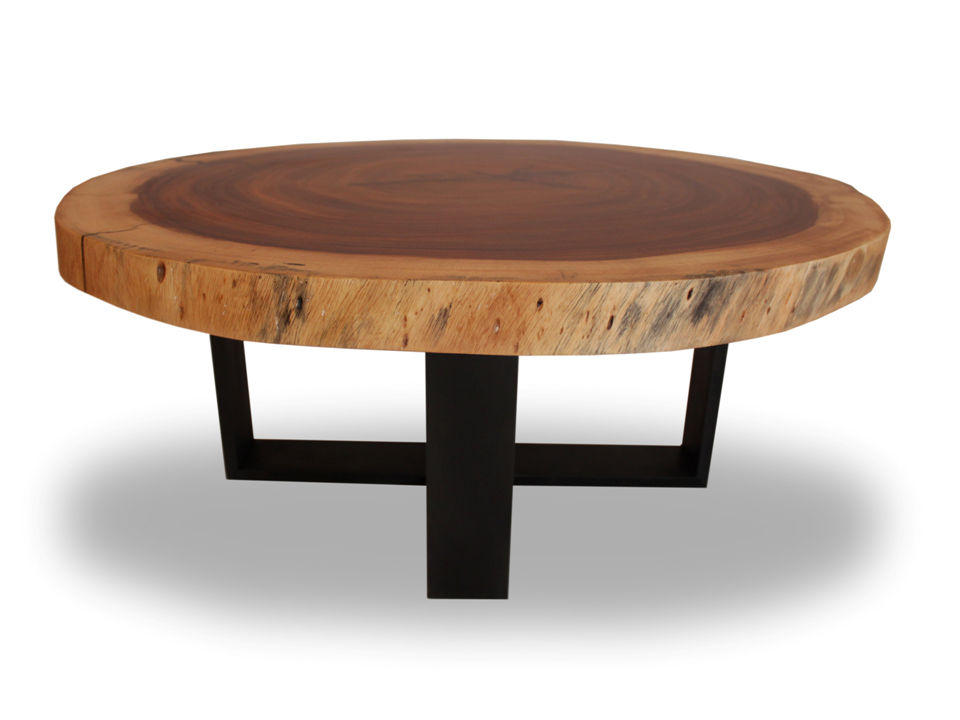Contemporary Coffee Table Wooden Round In Reclaimed Material