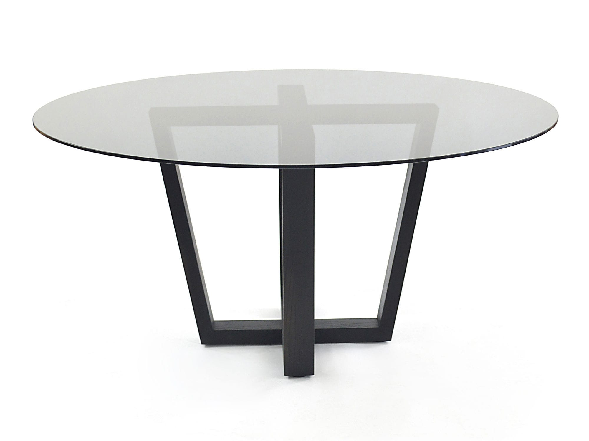 Contemporary Dining Table Smoked Glass Rotsen Furniture Wooden Glass Round