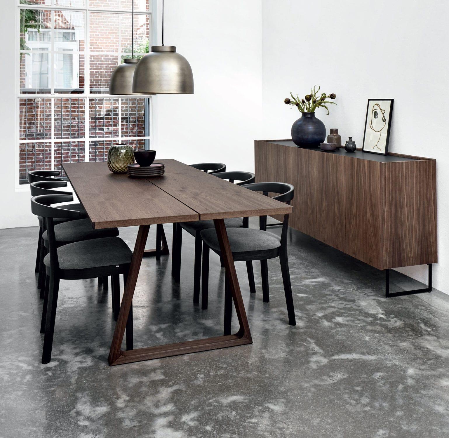 Contemporary Dining Table Oak Walnut Laminate 106