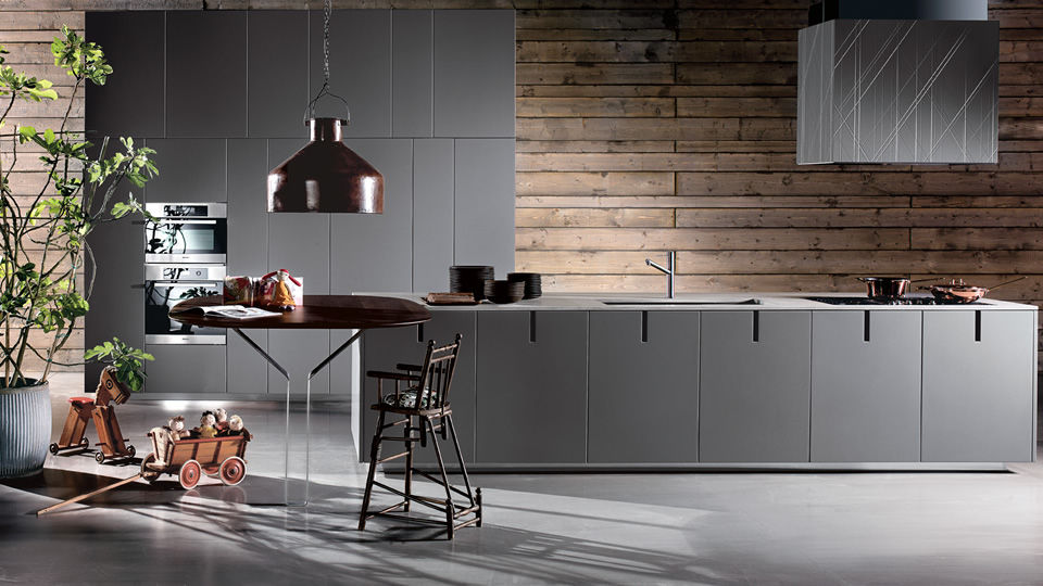 Contemporary Kitchen Wooden Stainless Steel Br