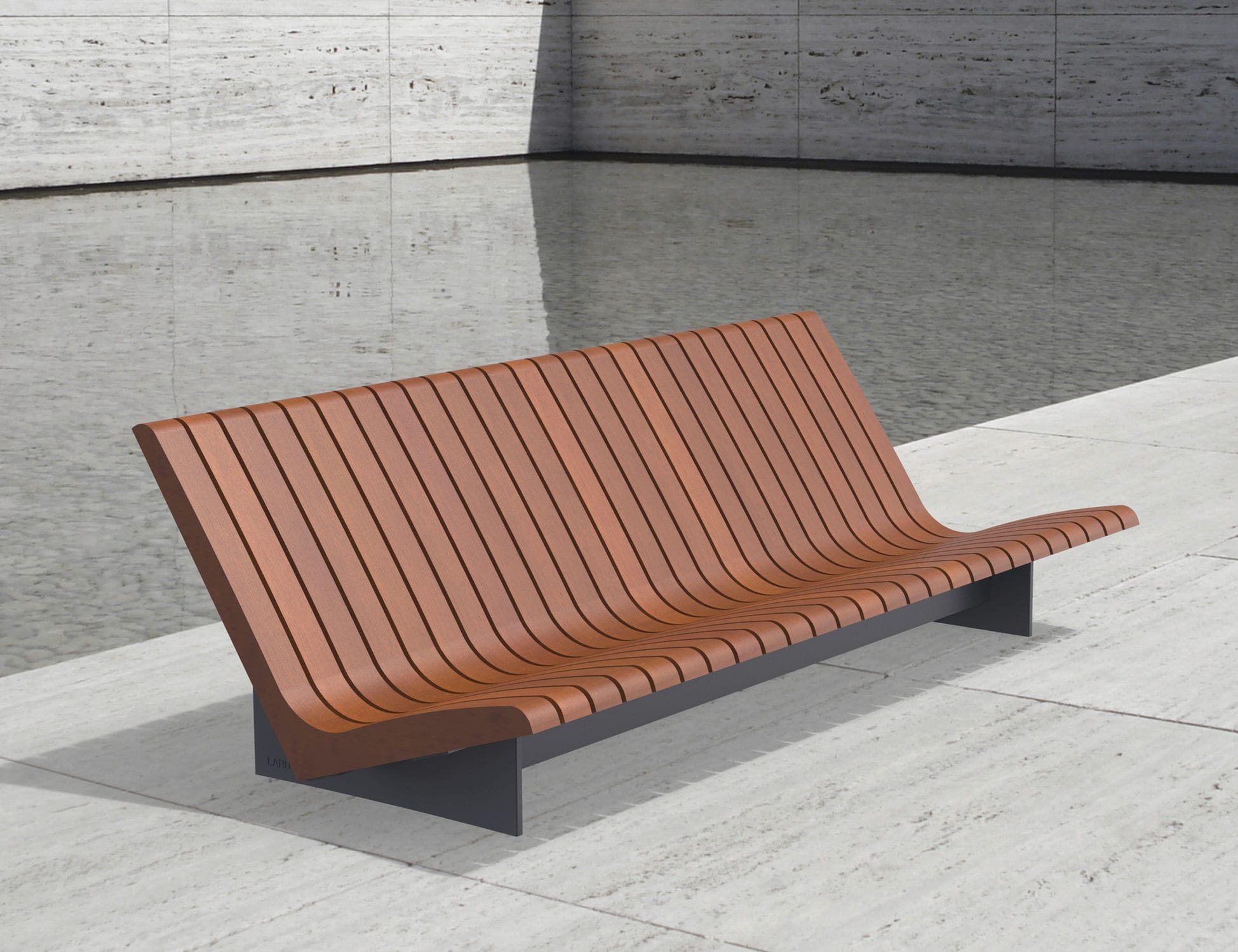 Contemporary Garden Bench Aria Larus Design Wooden With Backrest Fsc Certified
