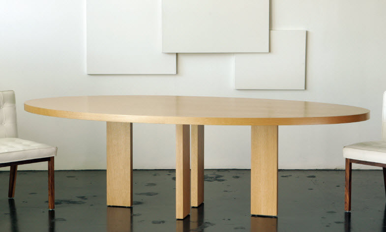 Contemporary Dining Table White Oak Oval Residential