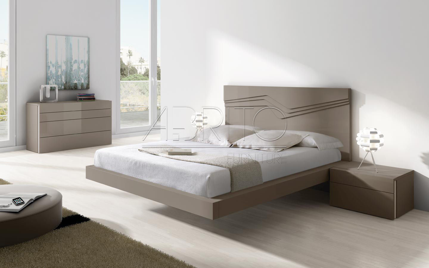Floating Bed Aris Plus 28c A Brito Double Contemporary With Headboard