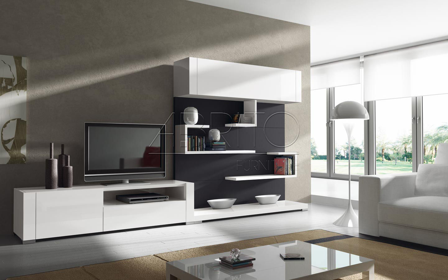 Contemporary Tv Wall Unit Lacquered Wood Nagare 46c