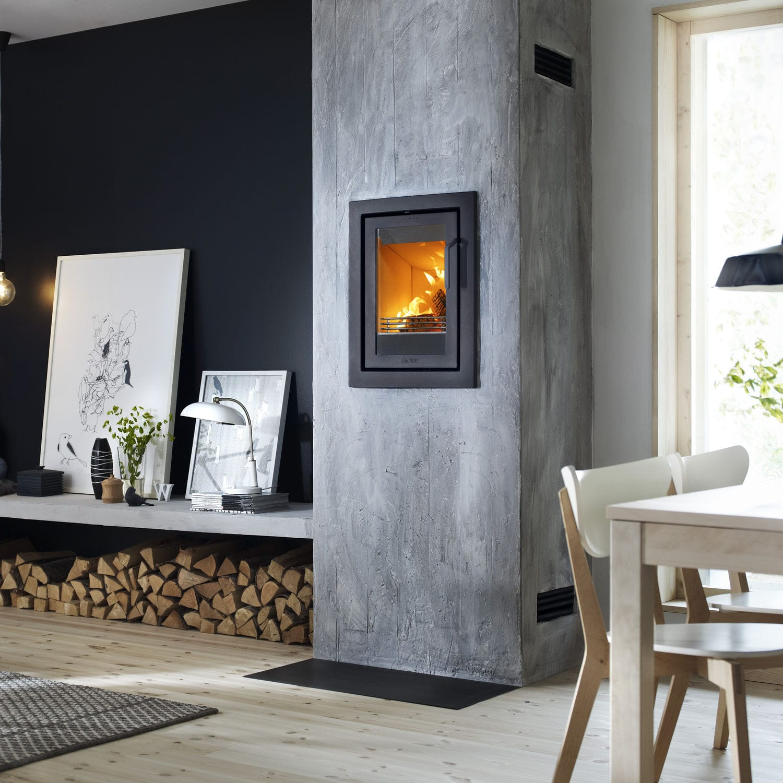Wood Burning Fireplace Insert I4 Modern Four Sided Frame Contura