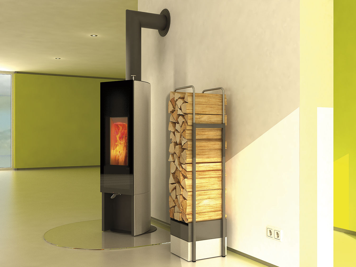 Wood Heating Stove Contemporary Central Stone T One Swing By Gaan Gabriela Vetsch André Riemens Tonwerk Lausen Ag