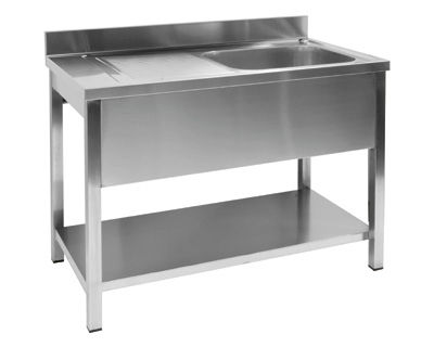 Single-bowl kitchen sink / stainless steel / commercial ...