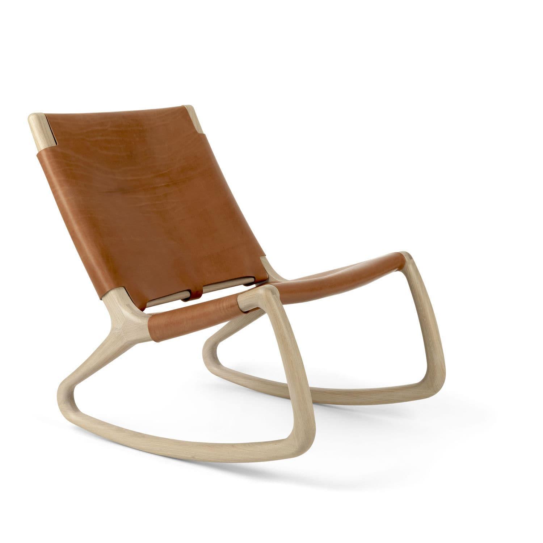 Contemporary fireside chair - ROCKER - Mater Design - leather