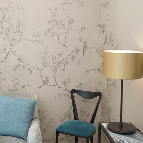 Traditional Wallpaper Silk Chinoiserie Handmade