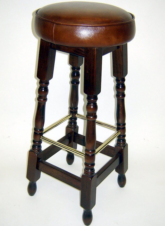Traditional Bar Stool Leather Wooden Commercial