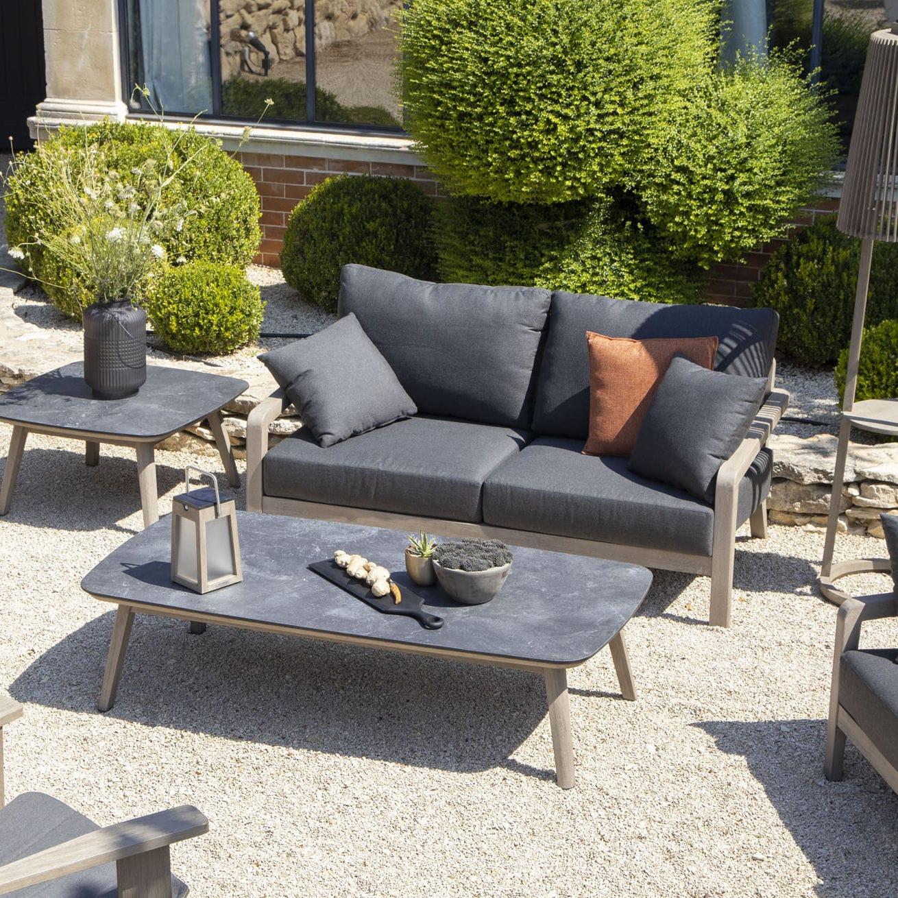 Scandinavian design sofa / outdoor / teak / Sunbrella ...