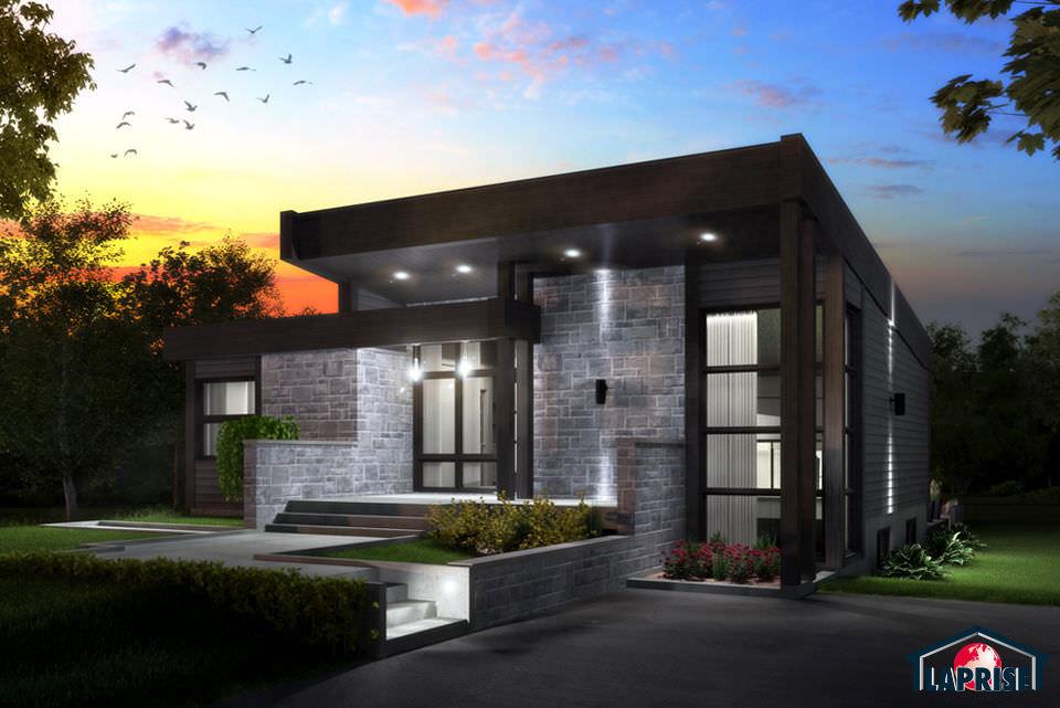 Prefab house / contemporary / wooden / stone - LAP0508 ...