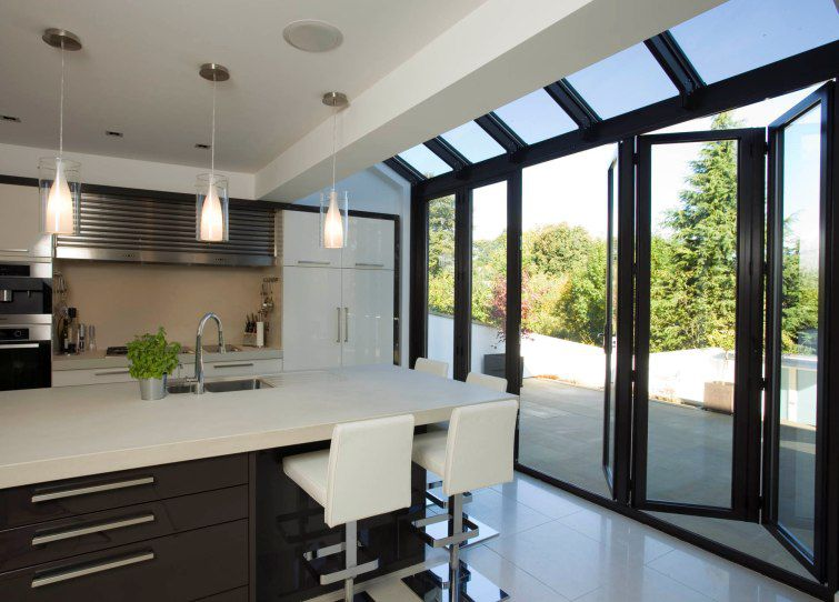 Sliding And Stacking Patio Door Kitchen Extensions Apropos Tectonic Limited Aluminum Double Glazed