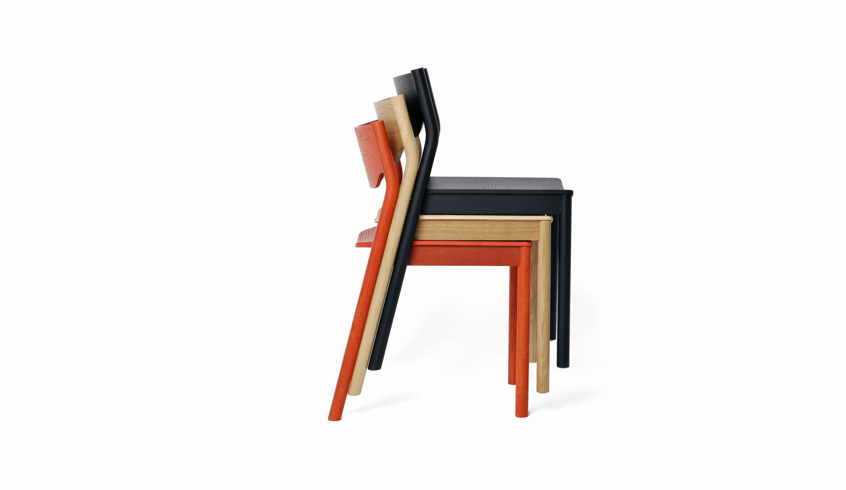 Contemporary Visitor Chair Stackable Oak Steel