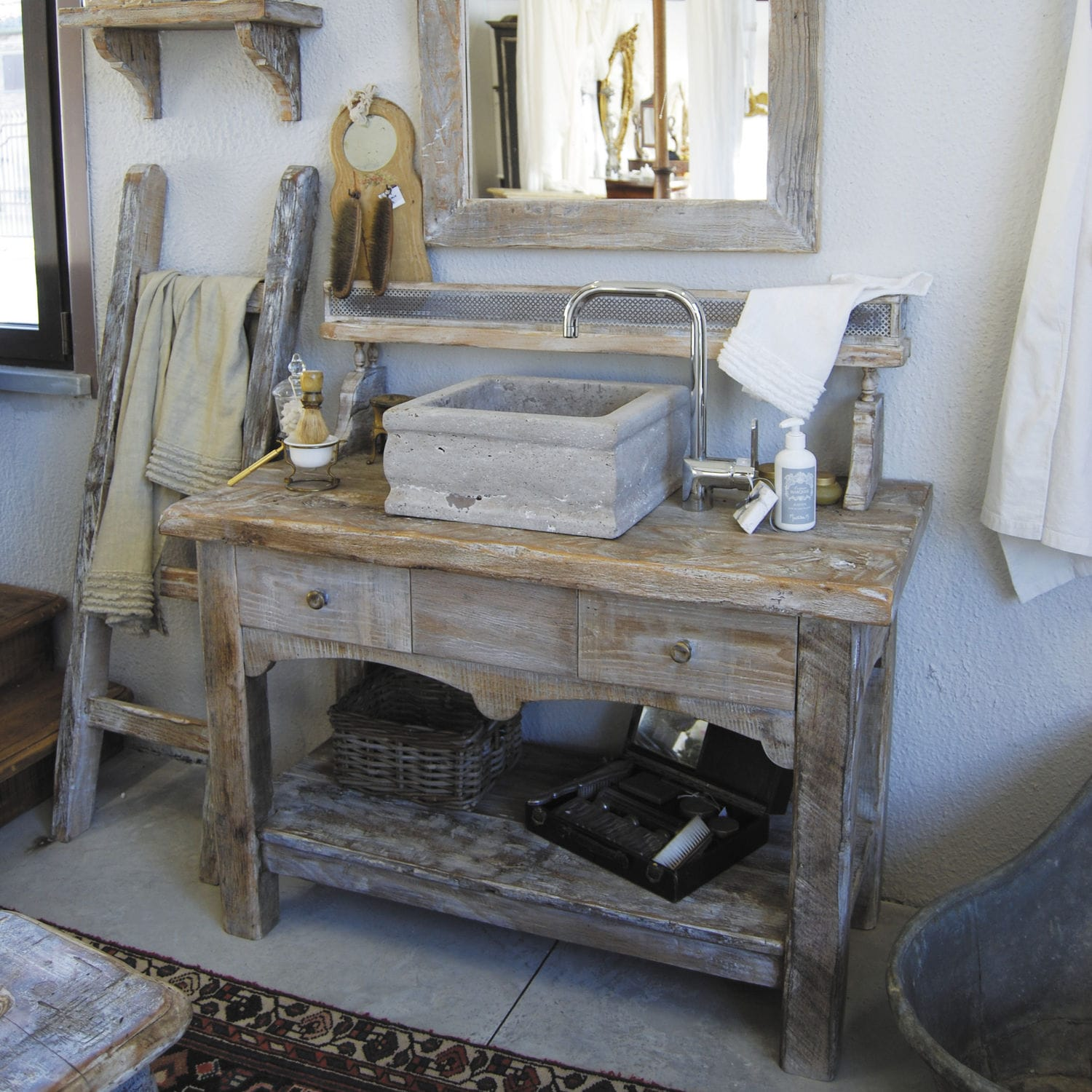 Free Standing Washbasin Cabinet Wooden Traditional Vintage