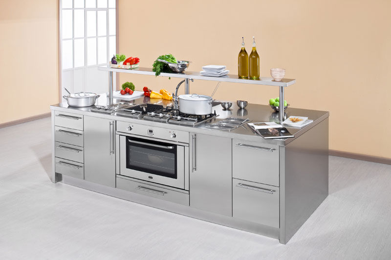 Contemporary Kitchen Stainless Steel Island With Handles Work Station