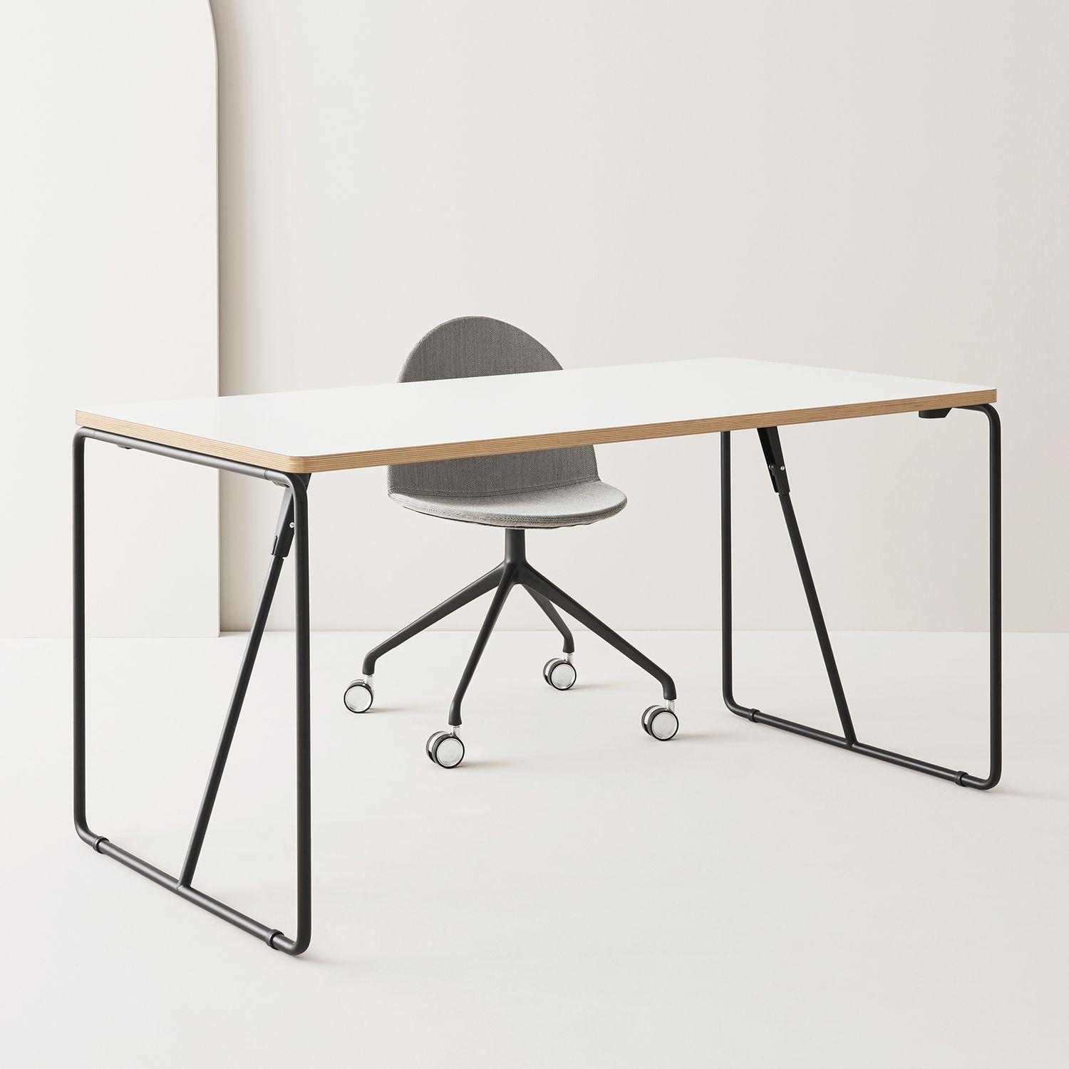 Contemporary boardroom table - FOLD-UP - SEGIS - plywood / steel