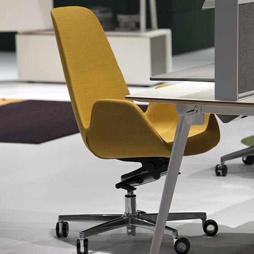 Contemporary Office Armchair Halia Koleksiyon Fabric Leather Chromed Metal