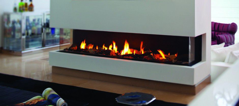Gas Fireplace Contemporary Closed Hearth 3 Sided