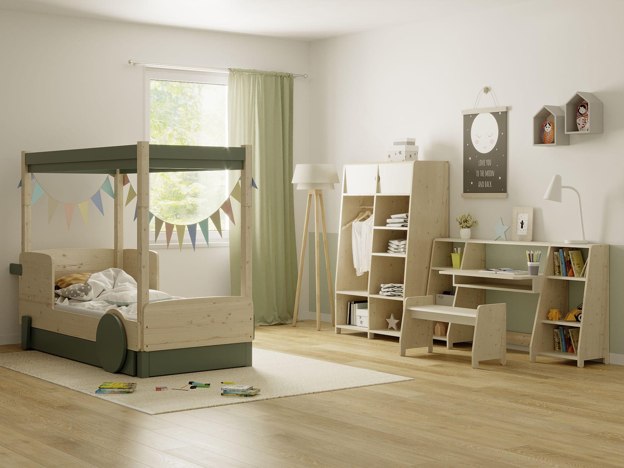Pine children\'s bedroom furniture set / MDF / lacquered wood ...