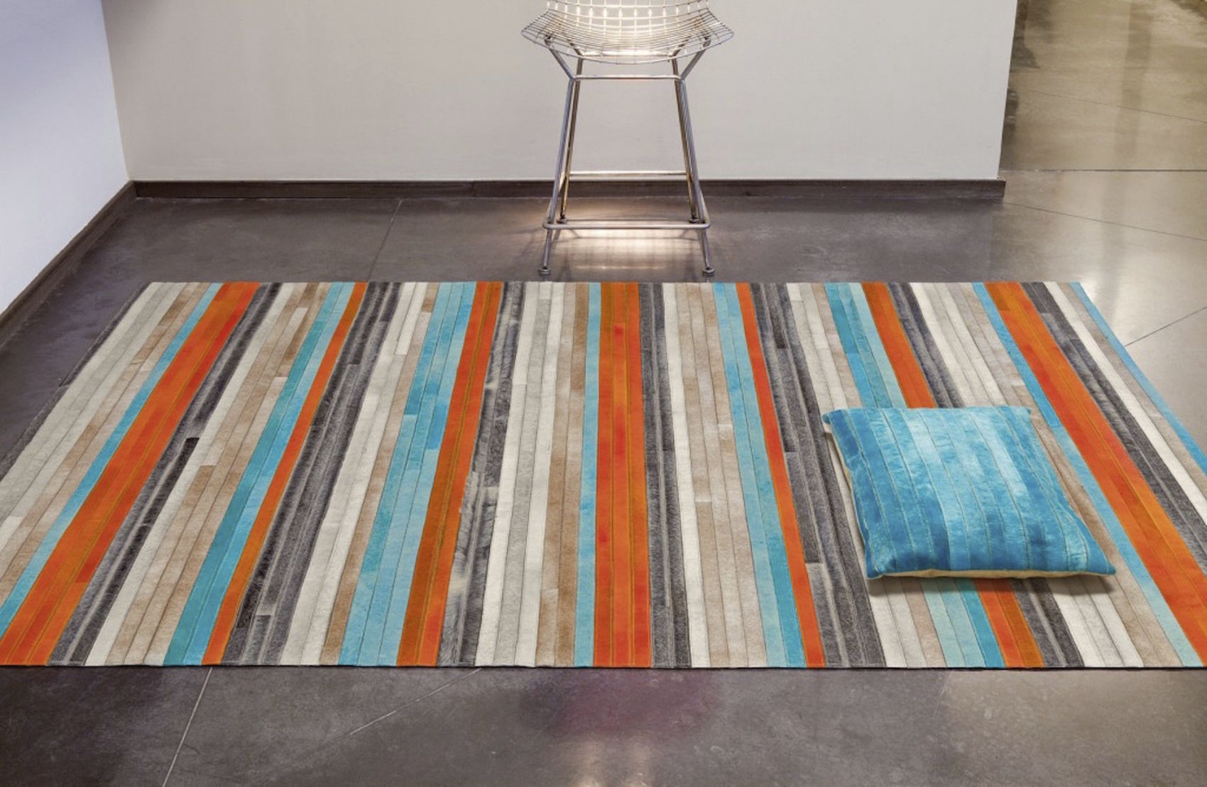 Contemporary rug / striped / leather / rectangular