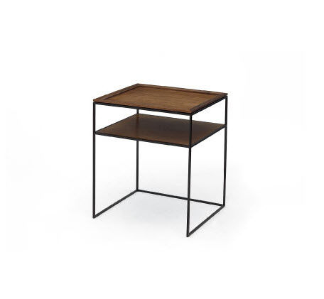 Side Table Klein.Contemporary Bedside Table Walnut Rectangular