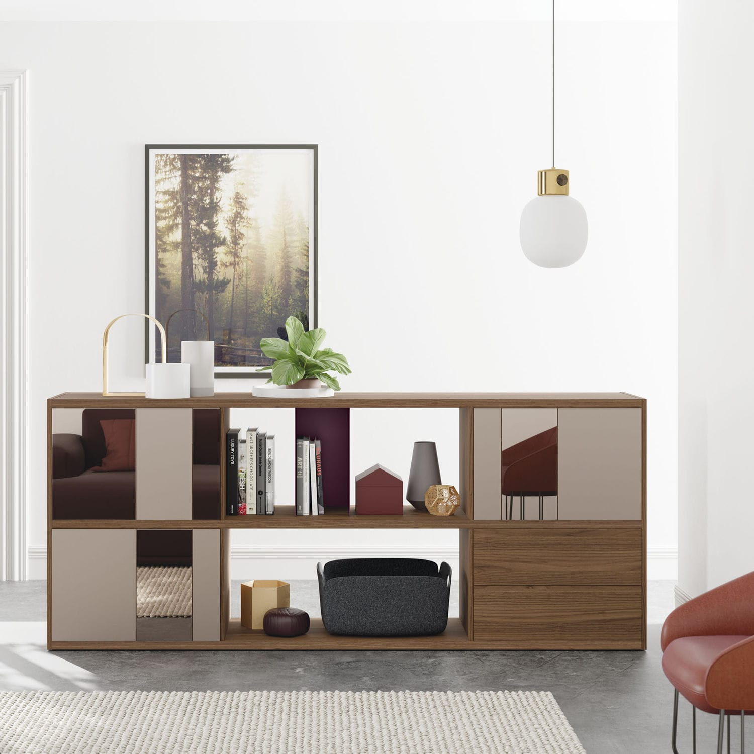 Modular Bookcase Room Divider Contemporary Lacquered