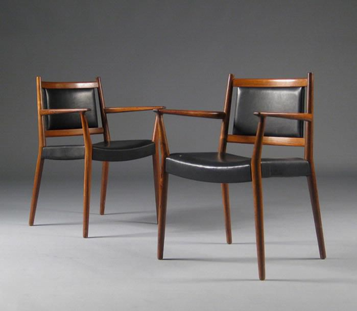 1960 69 By Ss Larsen Scandinavian Design Dining Chair Upholstered With Armrests Leather By Paere Dansk Archiexpo