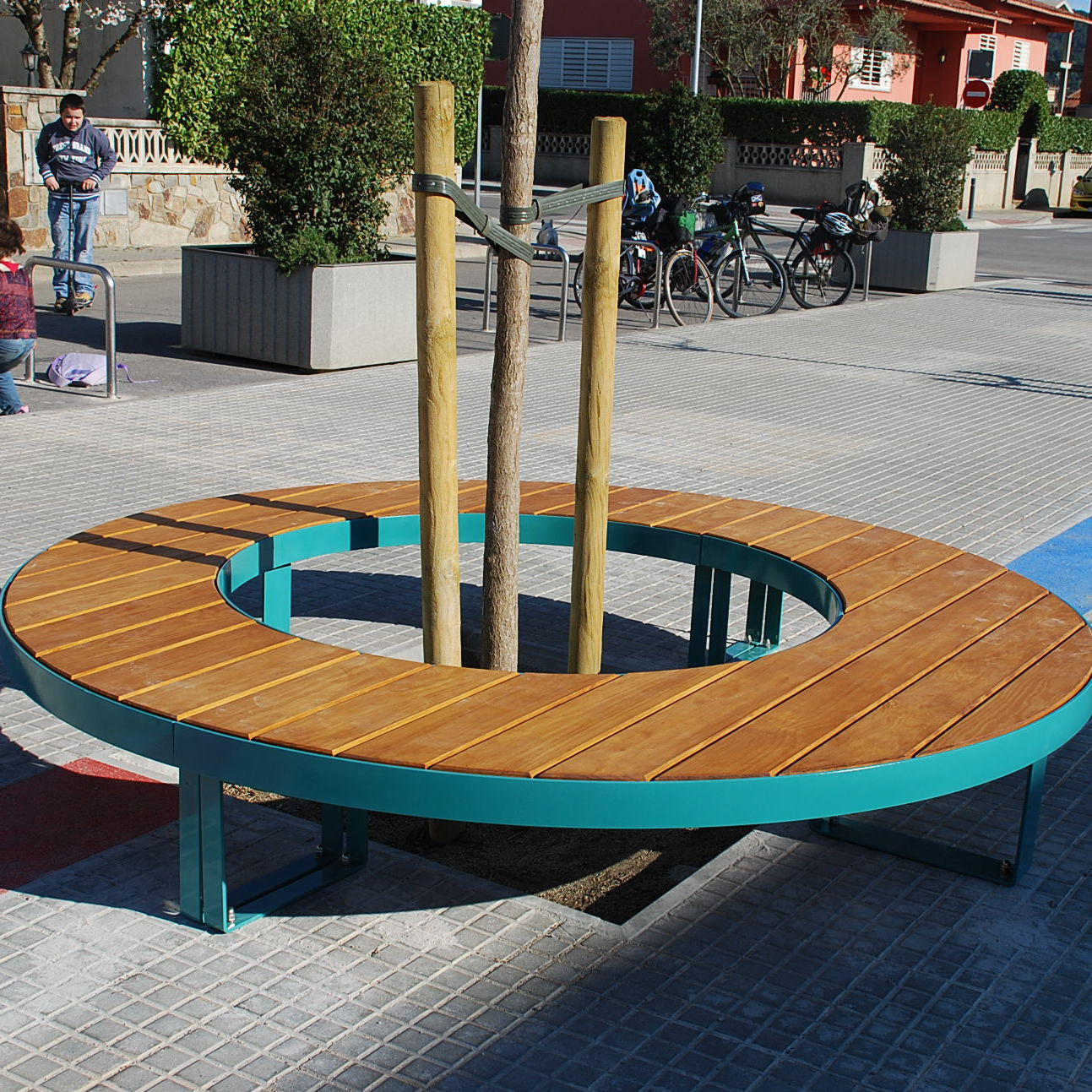 Public Bench Contemporary Wooden Galvanized Steel