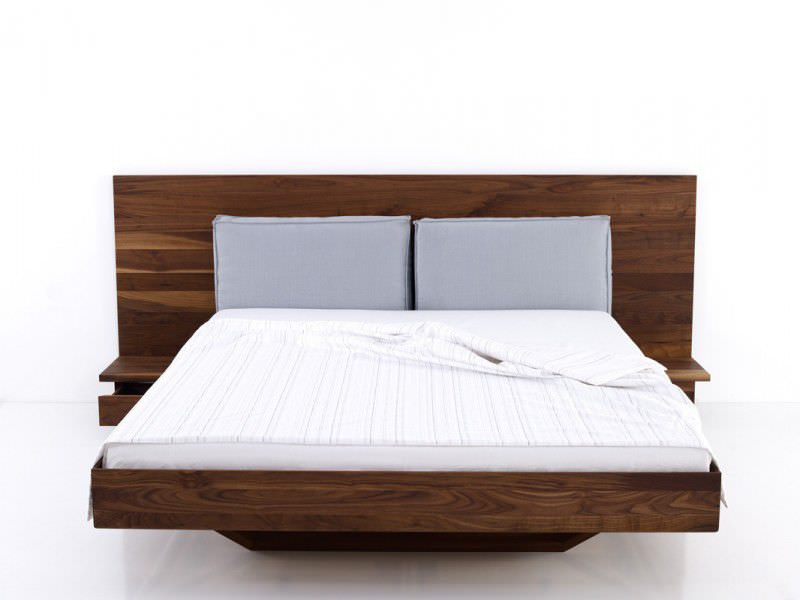 Double Bed Contemporary With Upholstered Headboard Wooden