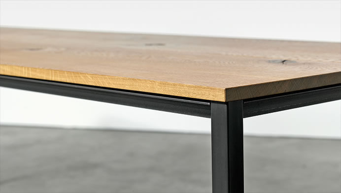 Contemporary Table Oiled Wood Steel Steel Base At 11