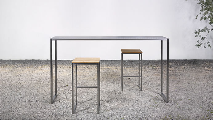 Contemporary High Bar Table Stainless Steel Rectangular At 07