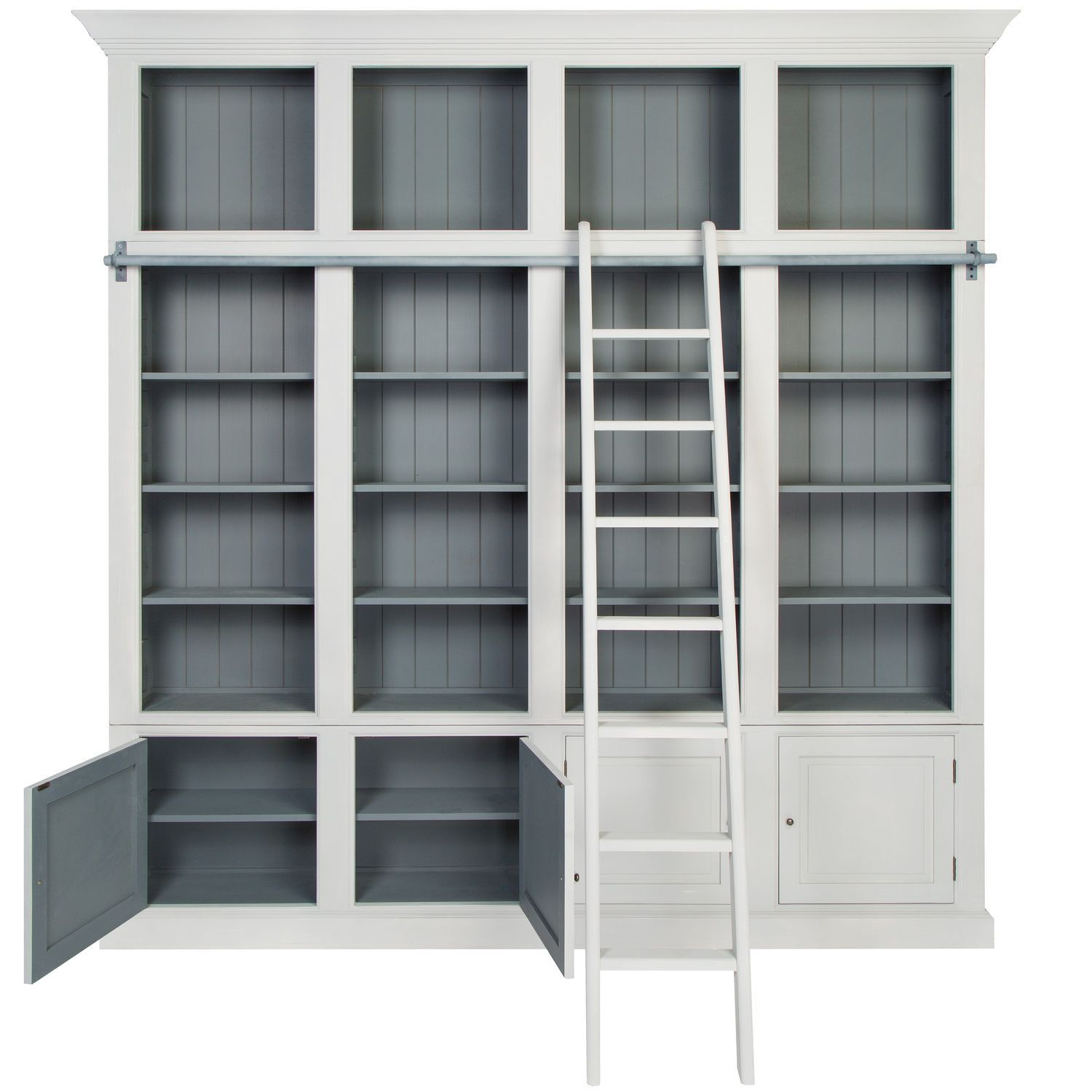 High Bookcase Traditional Wooden With Integrated Ladder
