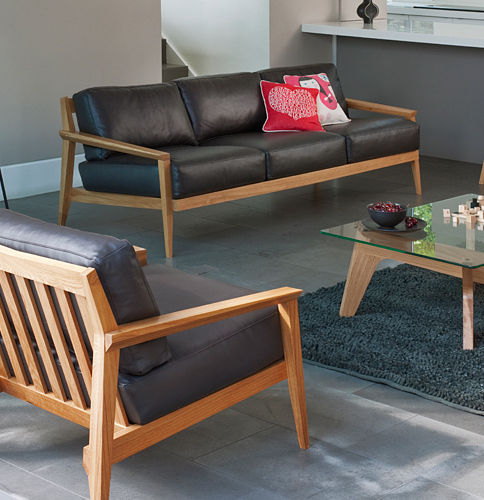 Contemporary sofa / leather / wooden / 3-seater - STANLEY by ...